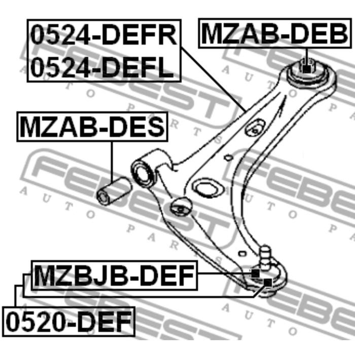 Сайлентблок переднего рычага febest mzab-deb