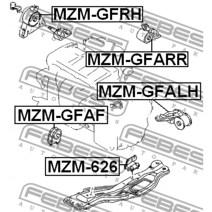 Подушка двигателя правая (гидравлическая) febest mzm-gfrh