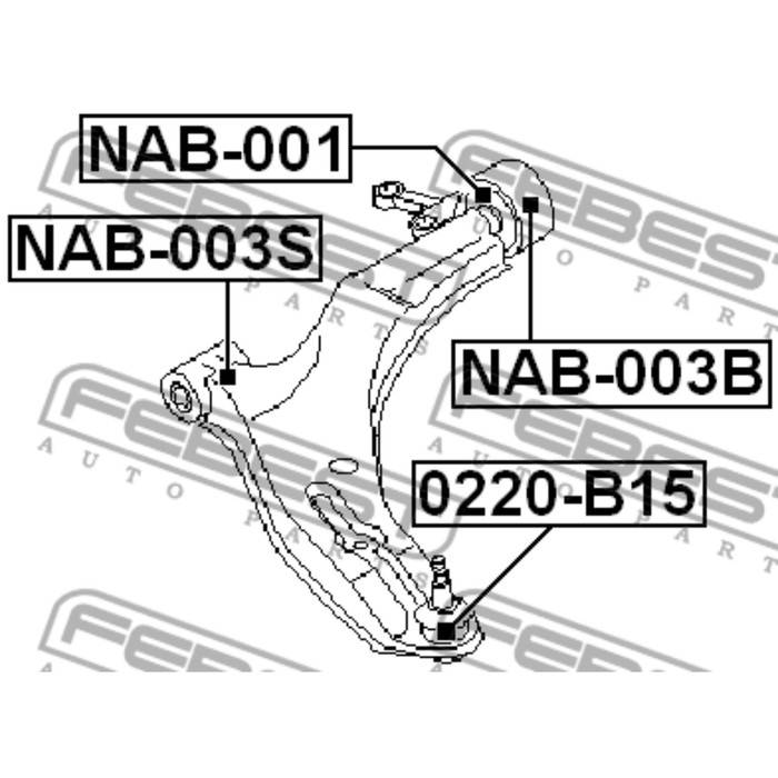 Сайлентблок задний переднего рычага без кронштейна febest nab-001