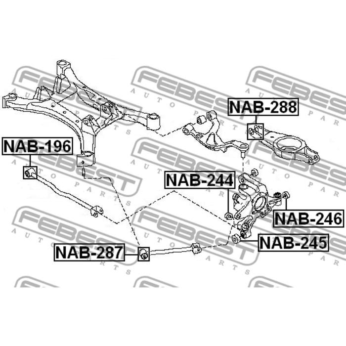 Сайлентблок заднего поперечного рычага febest nab-288