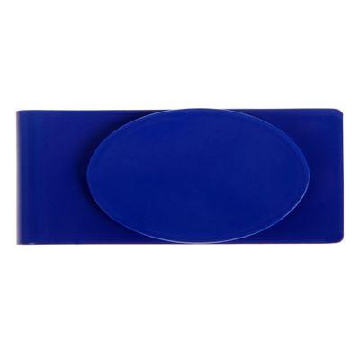 Зажим для денег металл Овал синий