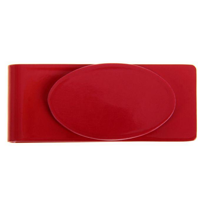 Зажим для денег, металлический, овальный, красный