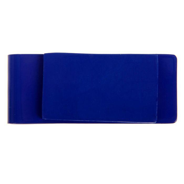 Зажим для денег, металлический, прямоугольный, синий