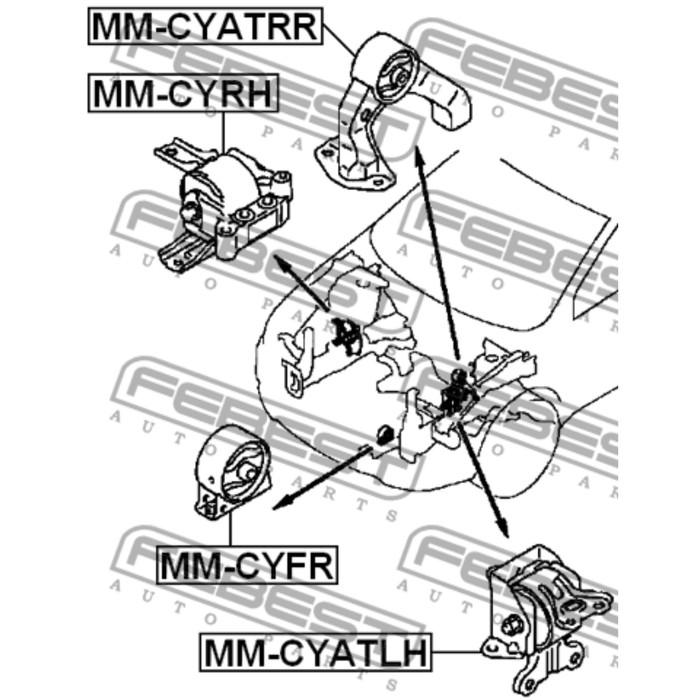 Подушка двигателя передняя at/mt febest mm-cyfr