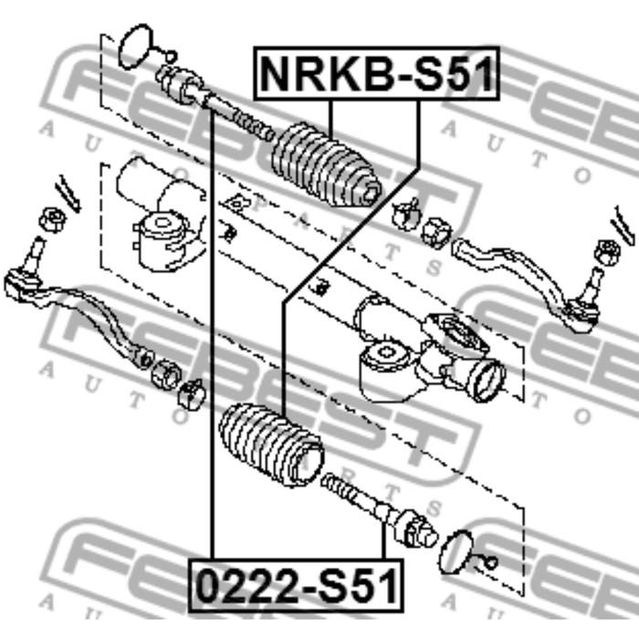 Пыльник рулевой рейки FEBEST nrkb-s51