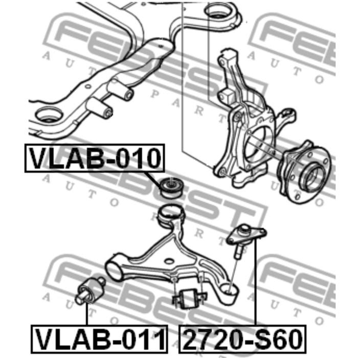 Сайлентблок переднего нижнего рычага febest vlab-011
