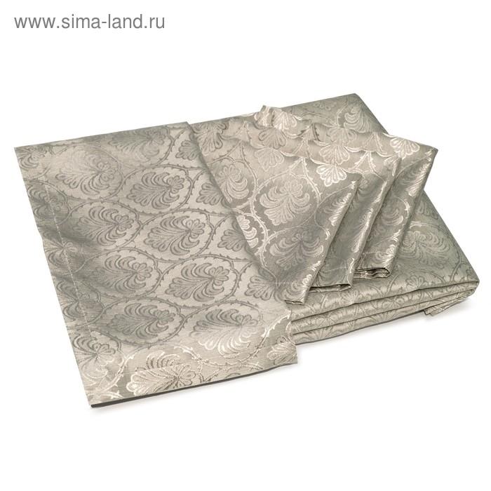 """Скатерть """"Феличе"""", размер 160х220 см, салфетка 35х35 см-4 шт., цвет коричневый"""