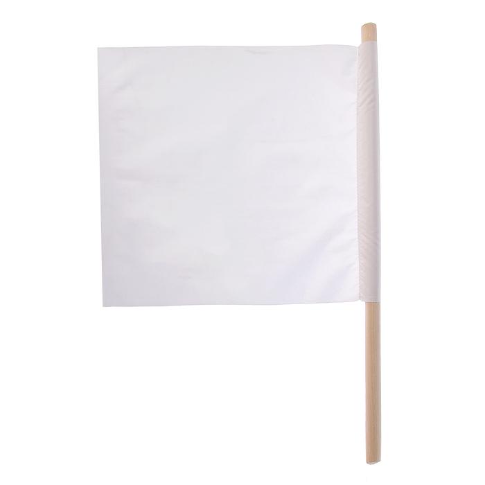 Флажок судейский 30*30см, цвет белый, L-50см
