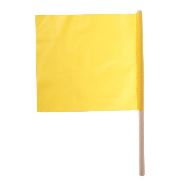 Флажок судейский 30*30см, жёлтый, L-50см