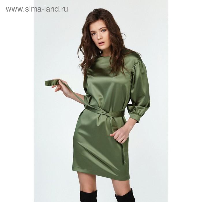 Платье женское, размер 46, цвет оливковый 112-15