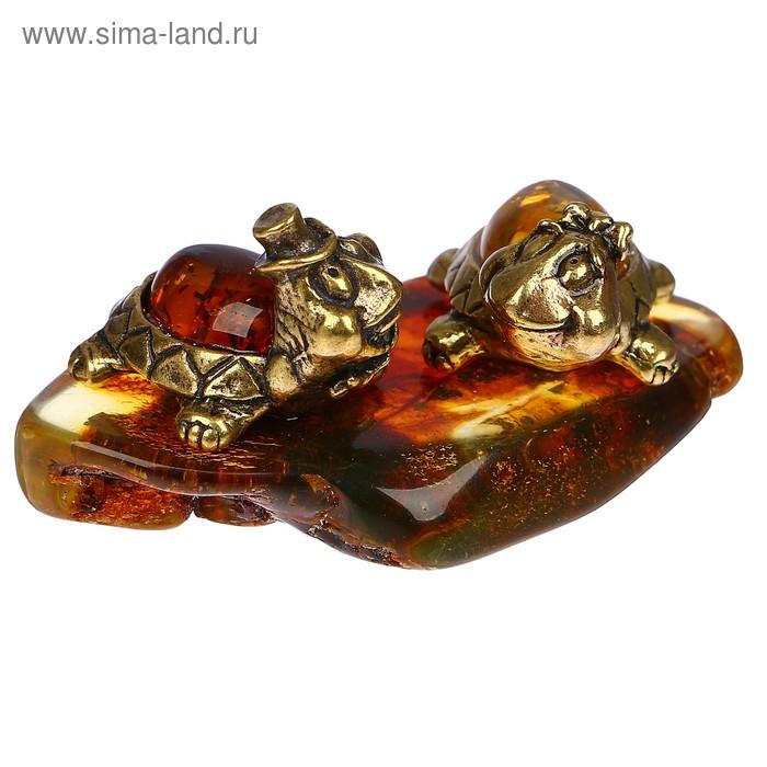 Сувенир «Пара черепах», натуральный янтарь