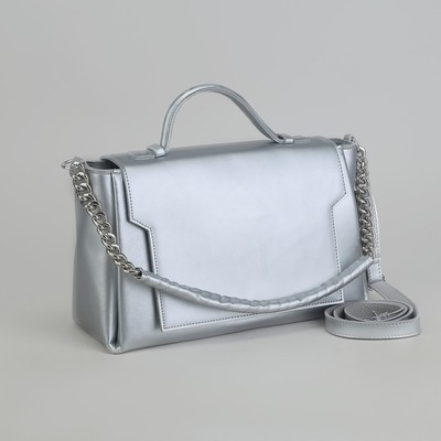 Bag ladies, division with a divider, a long strap, external pocket, colour silver
