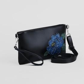 Клатч женский, отдел на молнии, наружный карман, с ручкой, длинный ремень, цвет чёрный