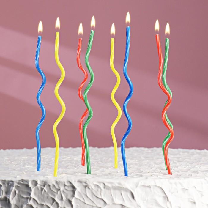"""Свечи восковые для торта """"Спиральки"""" (набор 8 шт) - фото 156784778"""