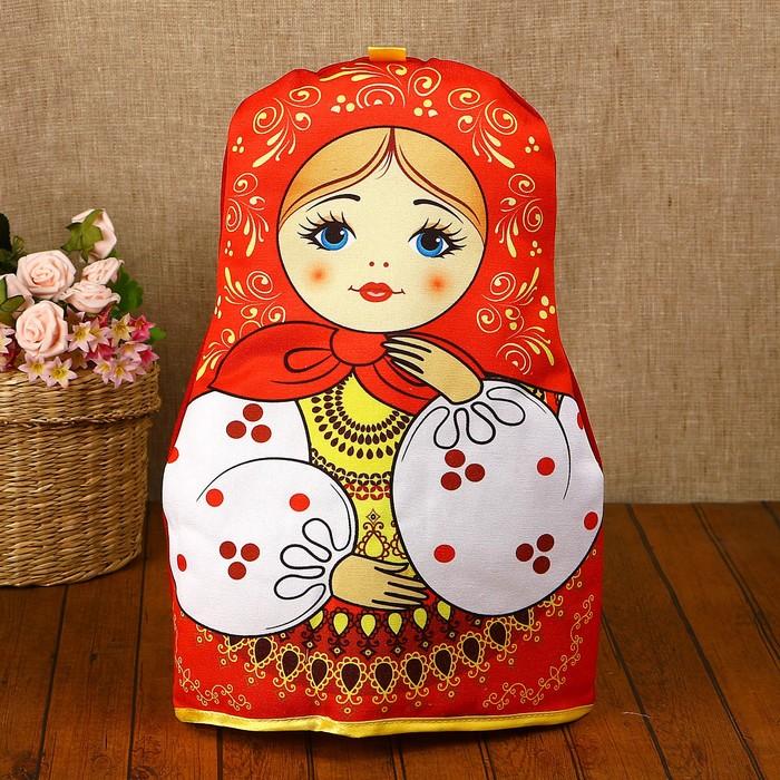 Грелка на чайник «Матрёшка», красный платок - фото 728407527
