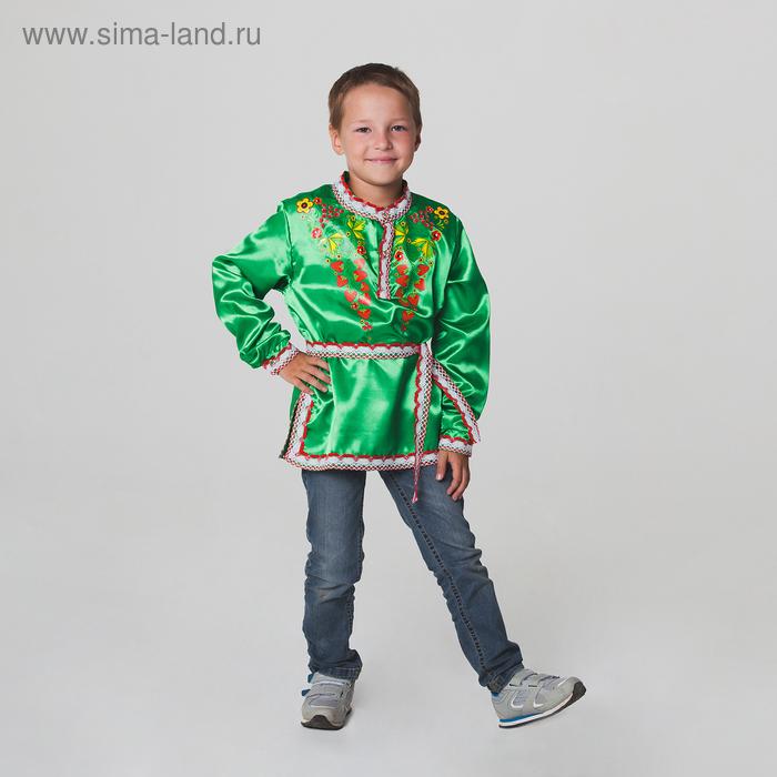 """Карнавальная русская рубаха """"Хохлома: ягоды"""", атлас, цвет зелёный, р-р 34, рост 134 см"""