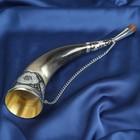 """Сувенирный рог для вина """"Казбек"""" ручная работа, 23-25 см, мельхиор, эмаль"""