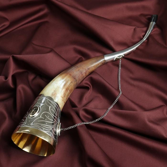 """Сувенирный рог для вина """"Дагестан"""" ручная работа, 35-40 см"""