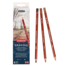 Карандаши художественные цветные Derwent Drawing, 6 цветов, в металлической коробке