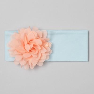 """Повязка детская """"Цветочек"""" голубая с персиковым цветком, р-р 52, 100% хл, интерлок"""