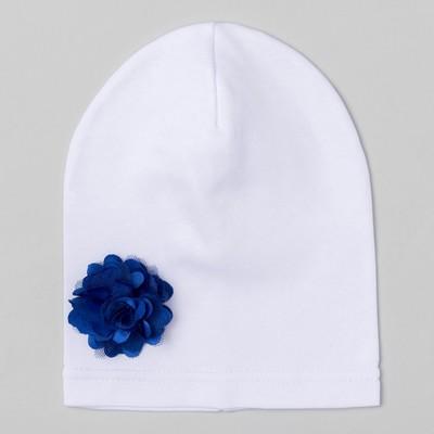 """Шапка детская """"Цветочек"""" белая с синим цветком, р-р 52, 100% хл, интерлок"""