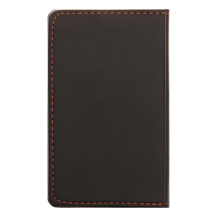 Записная книжка обложка ПВХ А6 56л кл 81*141мм коричневая на кнопке