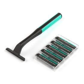 Набор станок для бритья и 5 сменных кассет LuazON, с 3 лезвиями и увлажняющей полоской