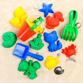 Набор для игры в песке, 8 формочек, совок, лейка, грабли, цвета МИКС