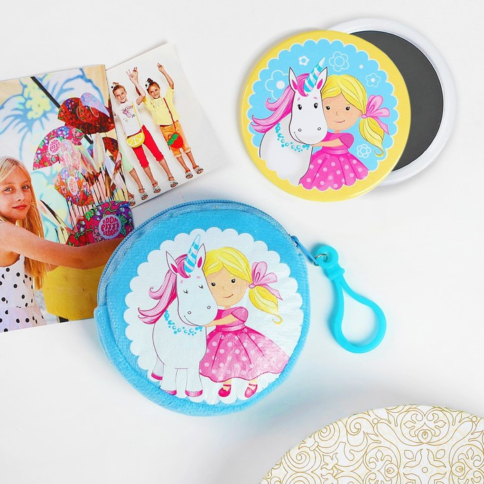 Детский набор «Лучшие друзья»: кошелёк 9 см, зеркало