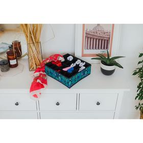 Органайзер для белья Доляна «Тропики», 24 ячейки, 35×30×10 см, цвет синий