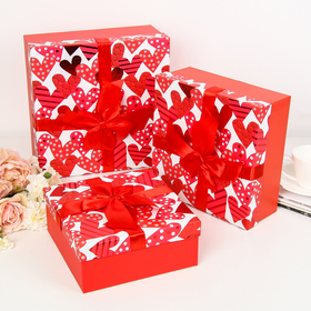 """Set boxes 3in1 """"Magic hearts"""", red, 28 x 28 x 11 - 21 x 21 x 9 cm"""