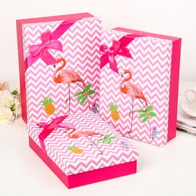 """Набор коробок 3 в 1 """"Фламинго"""", розовый, 29 х 21 х 9 - 26 х 18 х 6 см в Донецке"""