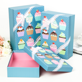 "Set of 3 boxes to 1 ""Dessert"", blue, 29 x 21 x 9 26 x 18 x 6 cm"