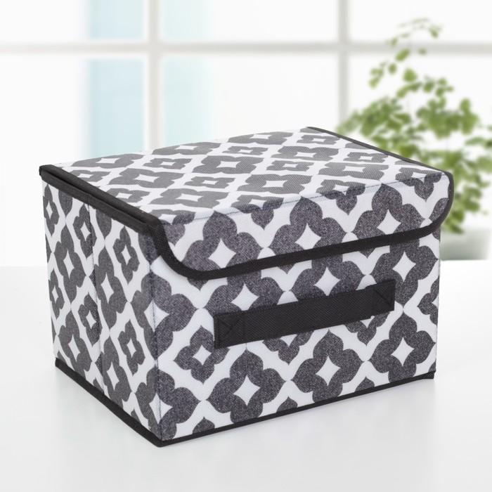 Короб для хранения с крышкой «Вензель», 26×20×16 см, цвет чёрно-белый - фото 308331855