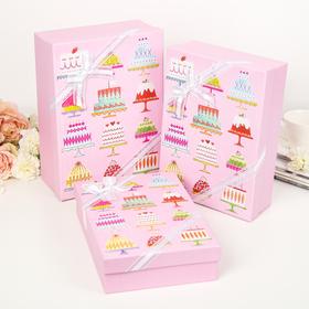 """Набор коробок 3 в 1 """"Десерт"""", розовый, 29 х 21 х 9 - 26 х 18 х 6 см в Донецке"""