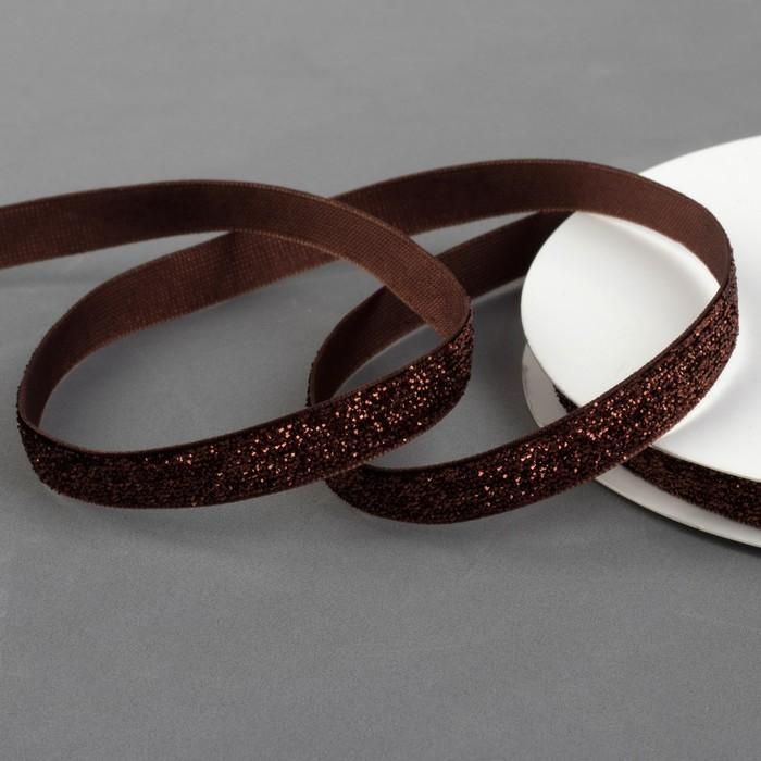 Лента бархатная с глиттером, 10 мм, 19 ± 1 м, цвет коричневый