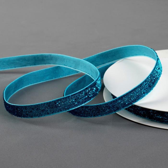 Лента бархатная с глиттером, 10 мм, 19 ± 1 м, цвет синий