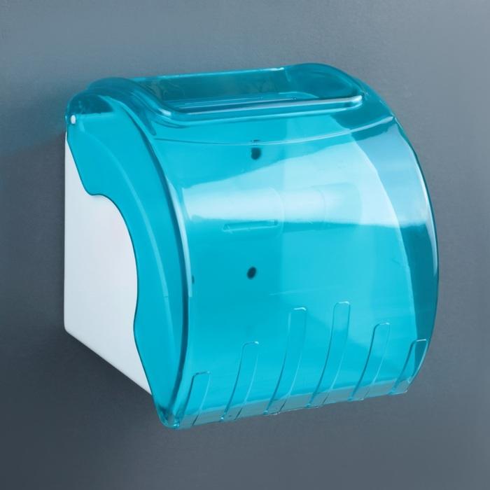 Держатель для туалетной бумаги пластиковый с трубкой 14×13×14 см, цвет голубой