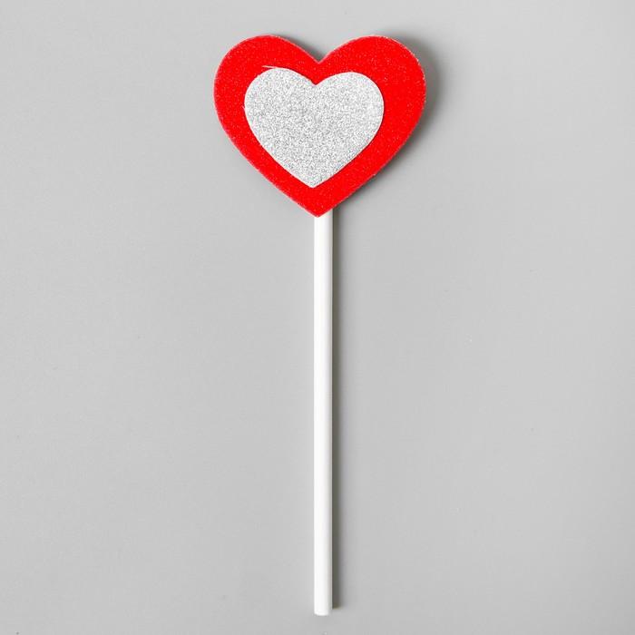 Топпер «Сердце», набор 6 шт., серебряное в красном - фото 699809