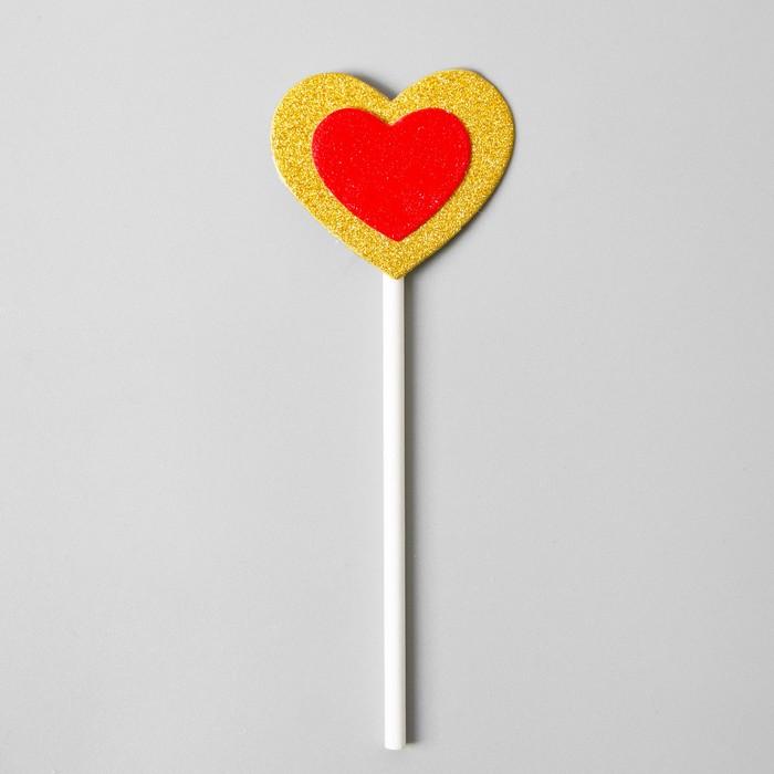 Топпер «Сердце», набор 6 шт., красное в золотом - фото 699811