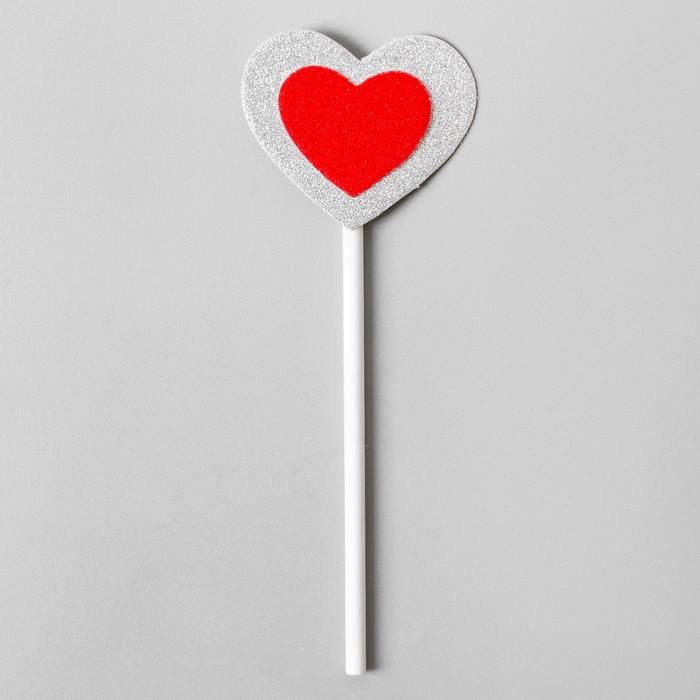 Топпер «Сердце», красное в серебряном, набор 6 шт. - фото 699813