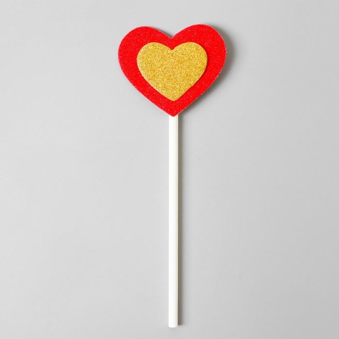 Топпер «Сердце», набор 6 шт., золотое в красном - фото 699815