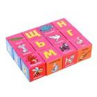 Набор кубиков «Изучаем алфавит с животными», 12 штук