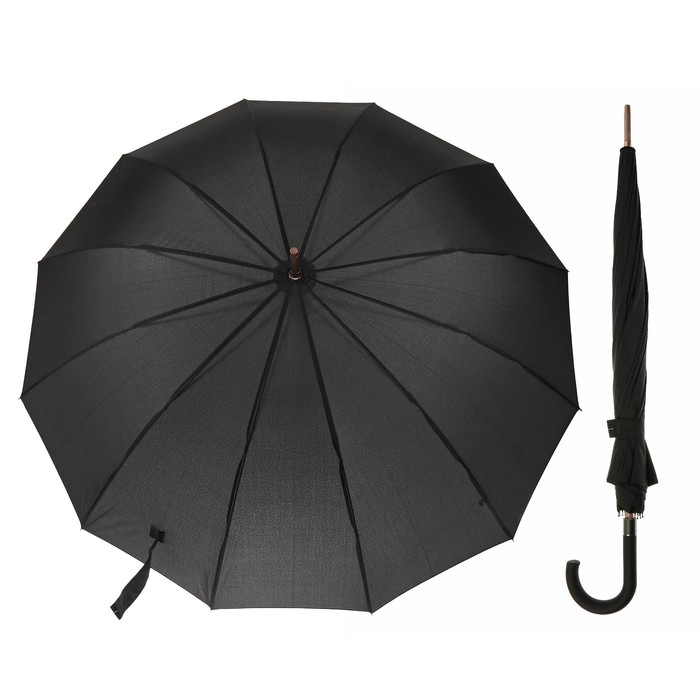 Зонт-трость, R=58см, цвет чёрный