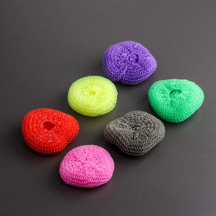 Набор губок «Бублик», пластик, 6 шт, цвет МИКС