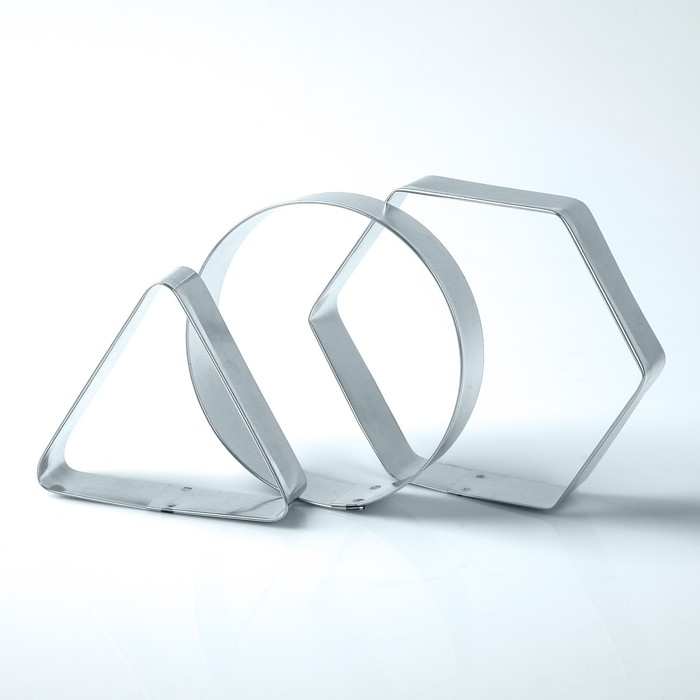 """Набор форм для вырезания из жести """"Квадрат, круг, треугольник"""", 10 х 10 х 3 см, 3 шт."""