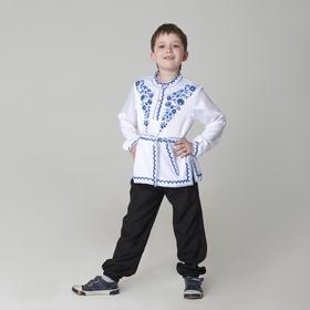 """Карнавальная русская рубаха """"Синие цветы"""", атлас, цвет белый, р-р 30, рост 110-116 см"""