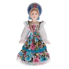 """The souvenir doll, """"the Girl in colored gingham sundress and a crown (style) Russia"""" 16 cm"""