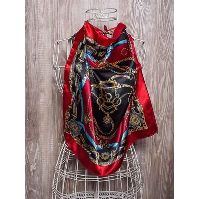 Платок женский, размер 50х50 см, цвет красный/чёрный K02P1509