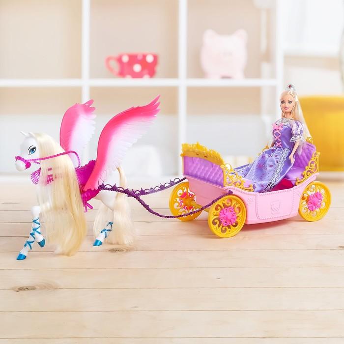 """Карета для кукол """"Принцесса на прогулке"""" с куклой и аксессуарами"""